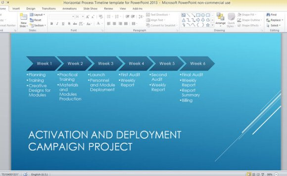 Horizontal Process Timeline Template For PowerPoint 2013