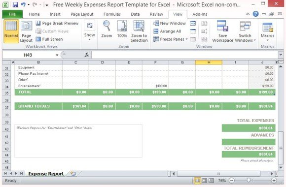 Personal Expense Report  Free Download