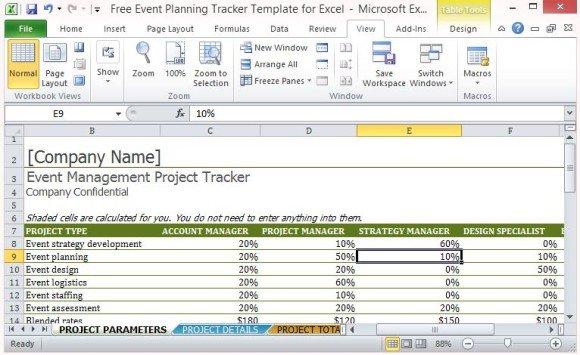 event planner spreadsheet