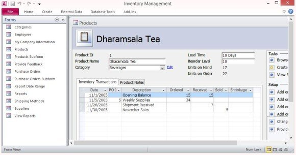 access database purchase order system