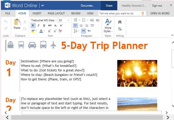 trip agenda sample