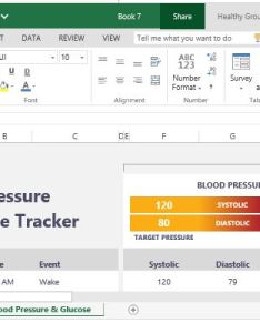 Health excel template for monitoring blood pressure and glucose levels also tracker rh free power point templates