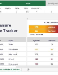 Show your medical history and records using this excel health tracker also blood pressure glucose for rh free power point templates