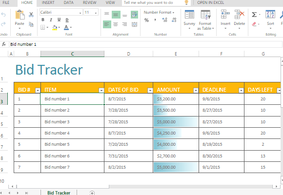Bid Tracker Template For Excel