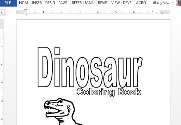 Printable Dinosaur Coloring Book For Word