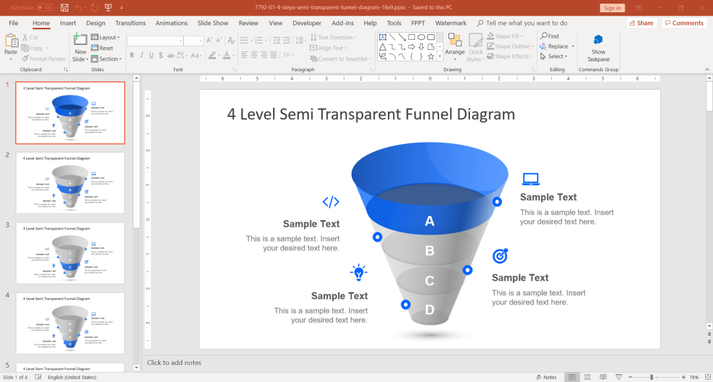 medium resolution of 4 level funnel diagram powerpoint template