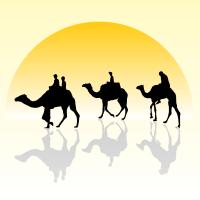 Vector Camel Caravan Silhouette in the Sunset Wallpaper ...