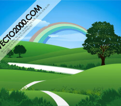 Fresh Green Landscape with Rainbow Vector Image