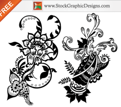 Set of Hand Floral Free Vector Graphics