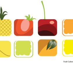 Vector Fruit Cubes