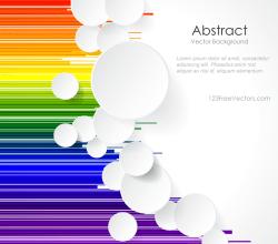 White Paper Circles on Rainbow Geometric Lines Background Design