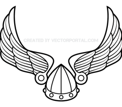 Winged Viking Helmet Vector Image