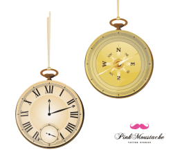 Vector Vintage Pocket Watch and Compass