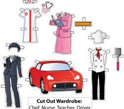 Cut-Out Wardrobe. Chef, Nurse, Teacher, Driver