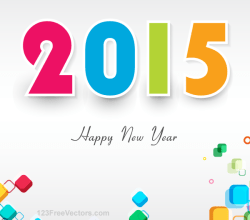Happy New Year 2015 Colorful Vector Background Design