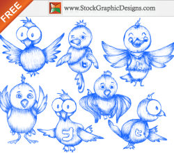 Free Sketchy Twitter Bird Icons Vector