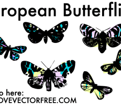 Vector Stained Glass Butterflies