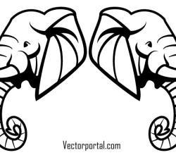 Elephant Head Vector Art