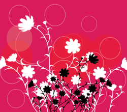 Black Flowers in Red Background Vector Design