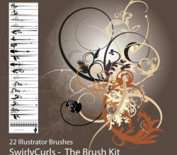 Free Illustrator Swirly Curls Brush Kit