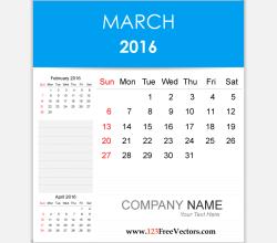 Editable Calendar March 2016