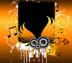 Grungy Music Vector Wings Banner