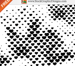 Halftone Hearts Free Vector Design Elements