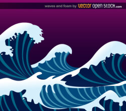 Ocean Wave with Foam Vector Free