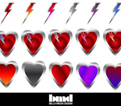Vector Heart with a Lightning Bolt