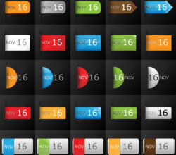 Vector Date Calendar Icon Set for Blogs