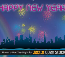 Vector Night City and New year Celebration with Fireworks