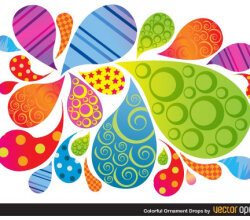 Vector Colorful Ornament Drops