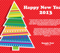 Happy New Year 2013 Christmas Tree Vector Illustration