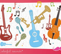 Free Musical Instruments and Music Notes Vector Graphics