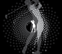 Golfer Swinging Silhouette Vector