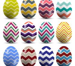 Chevron Pattern Easter Eggs Vector