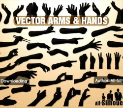Hands and Arms Silhouettes Vector