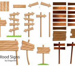 Vector  Wood Signs