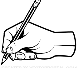 Human Hand Holding a Pencil Clip Art Vector