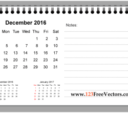 December 2016 Printable Calendar with Notes