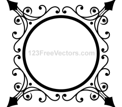 Circle Ornate Frame Vector Graphics