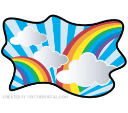Vector Rainbow with Cloud Clip Art