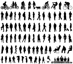 Vector Silhouettes of People Standing, Sitting, Walking