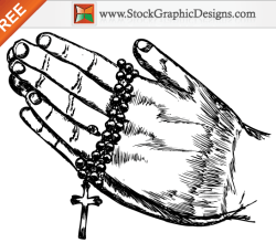 Hand Drawn Praying Hands Free Vector Illustration
