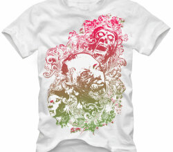 Vector Floral Zombie Nightmare T-Shirt Design