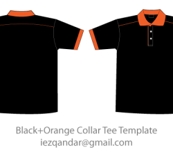 Vector Black & Orange Collar T-Shirt Template