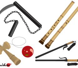Japanese Vector: Truncheon, Bilboquet, Bamboo Flute