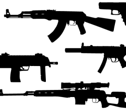 Machine Gun Vector Silhouettes Free