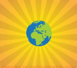 Earth on Sunburst Background Design