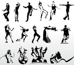 Aerobic Art Dancer Silhouettes Vector
